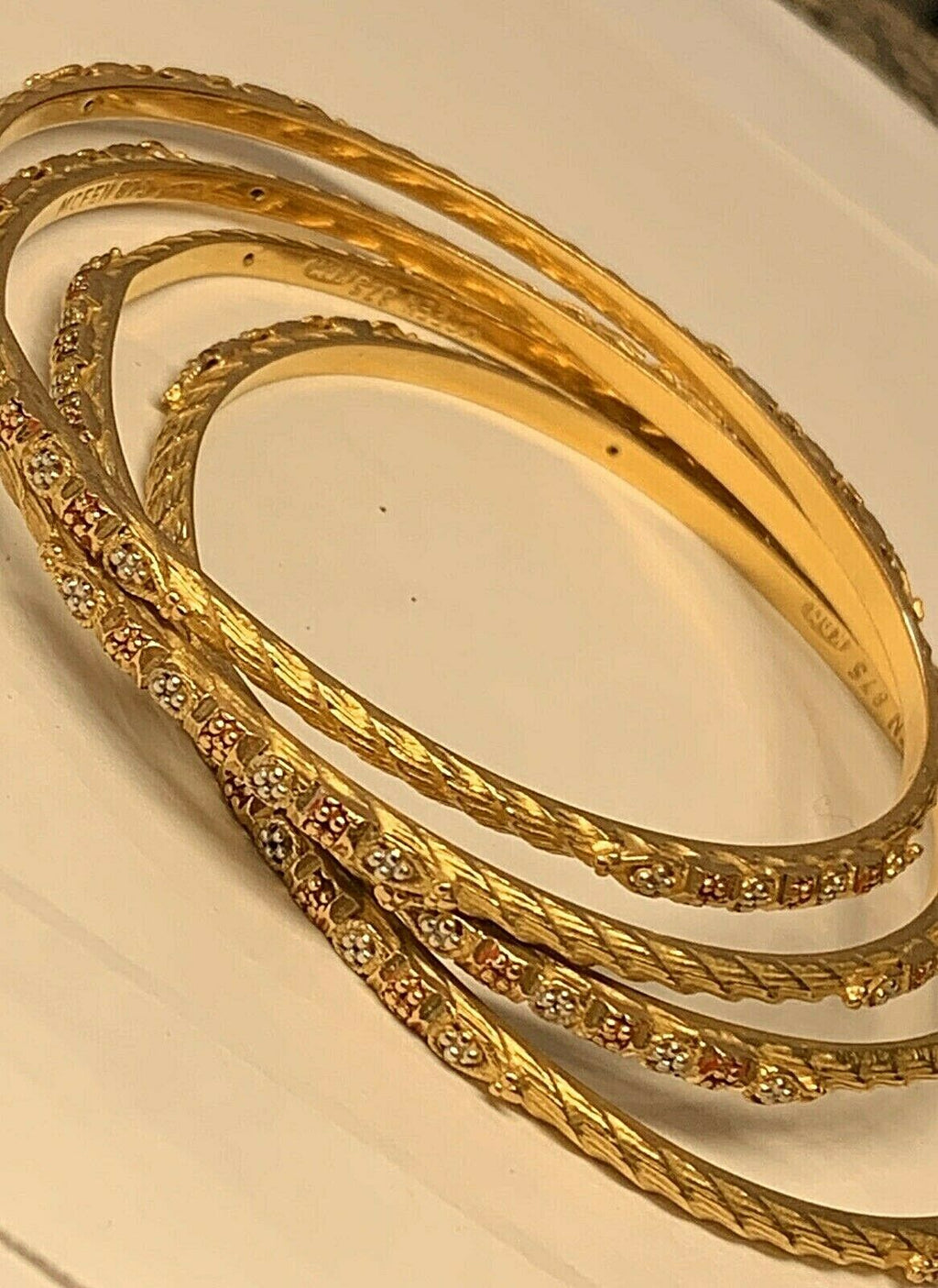 21k (.875) SET OF FOUR (4) Gold Ladies Bangles Bracelets 42.1 Grams