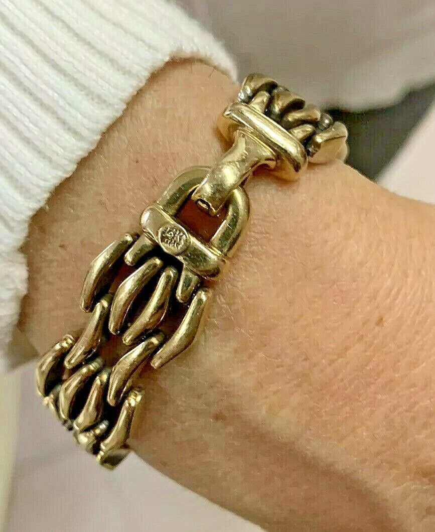 14k Gold Ladies Italian Reversible Bracelet - 7 1/4 Inches - 35.6 grams - 16mm