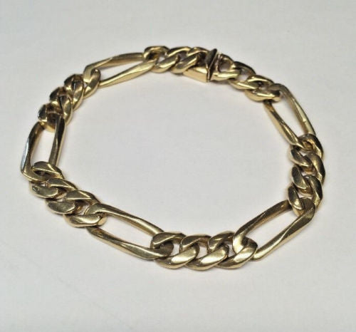 14k Solid Gold Men's Figaro Bracelet 8 Inches 36.0 Grams