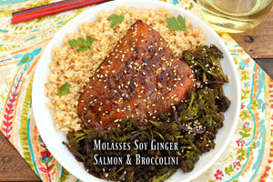 Molasses Soy Ginger Salmon and Broccolini