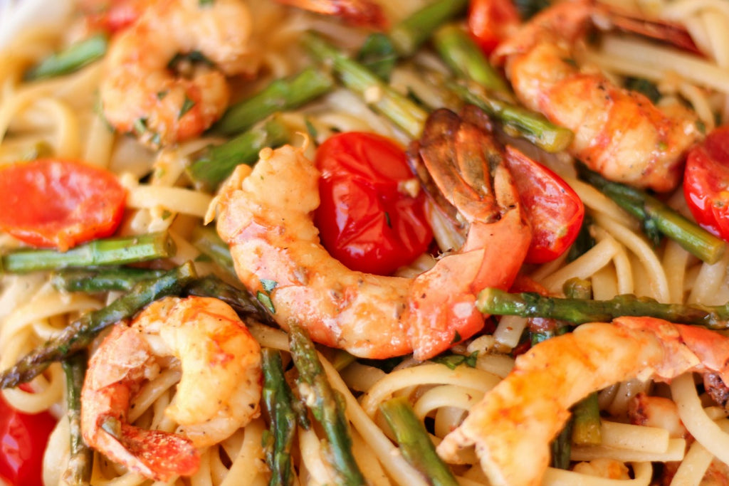 Roasted Spot Prawn Linguine with Asparagus and Tomatoes