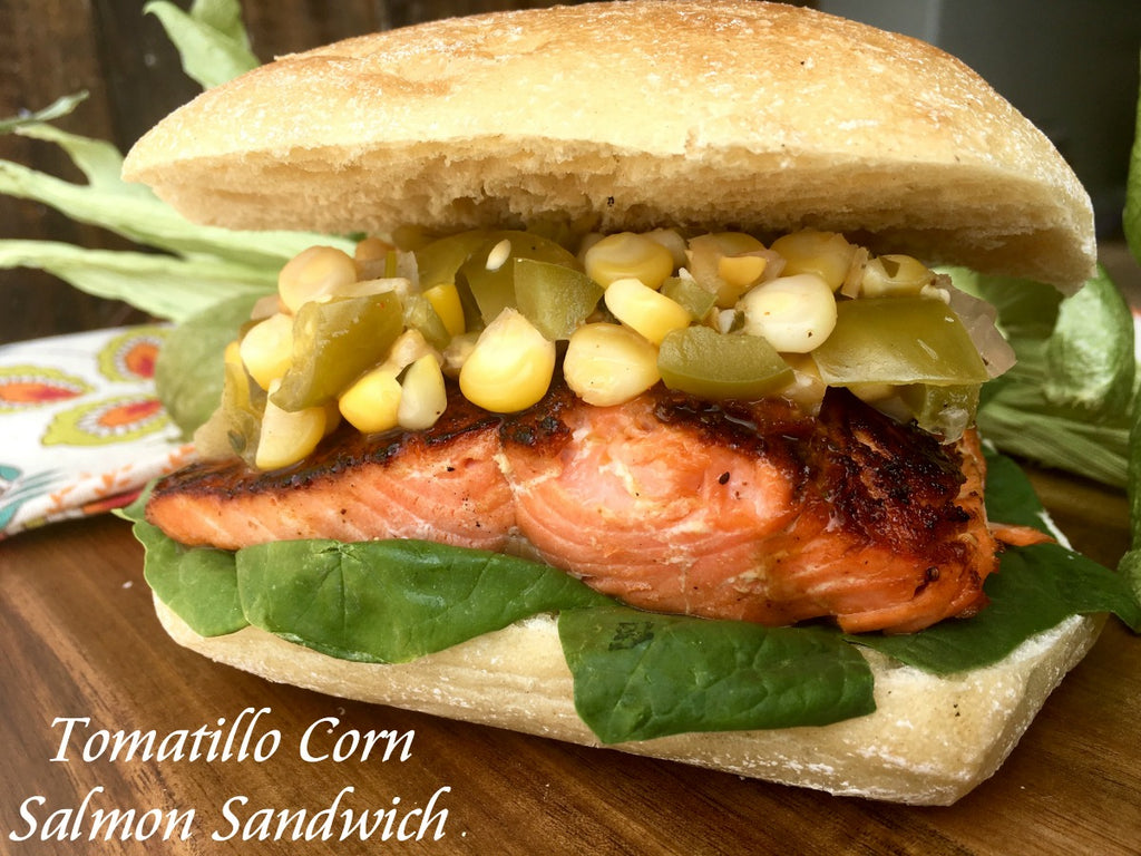Tomatillo Corn Salmon Sandwich