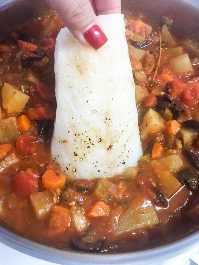Baccalà Inspired Pacific Cod Stew is an adaptation of the classic Italian salted cod dish using our flash frozen pacific cod, tomatoes, olives and served as a stew.