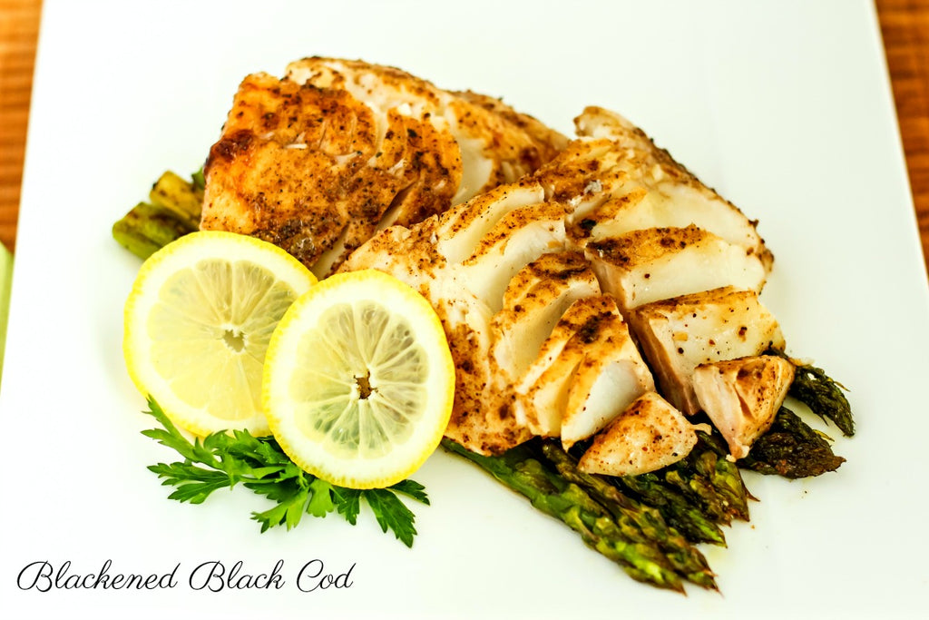 Blackened Black Cod is a quick and easy dinner idea loaded with flavor using homemade blackening spice blend rub, seared, and finished in a hot oven.