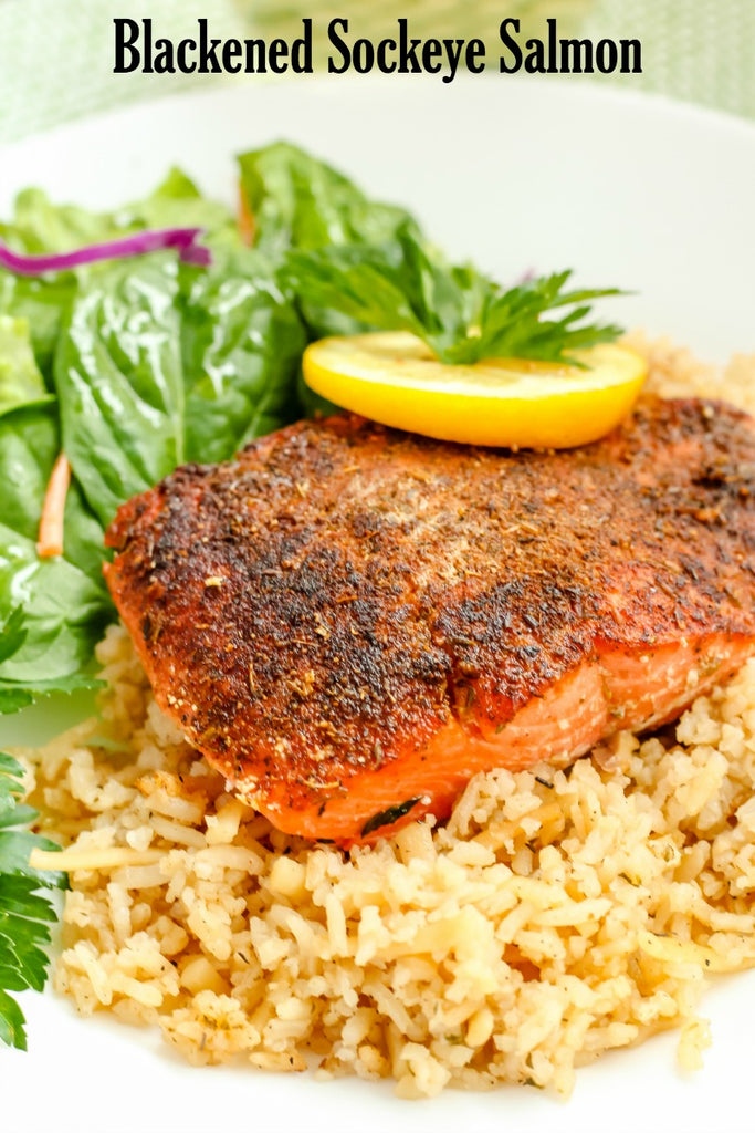 Blackened Sockeye Salmon ~ the perfect recipe using sustainable Alaskan Sockeye Salmon that will turn your non-seafood eating friends into fans after one bite.