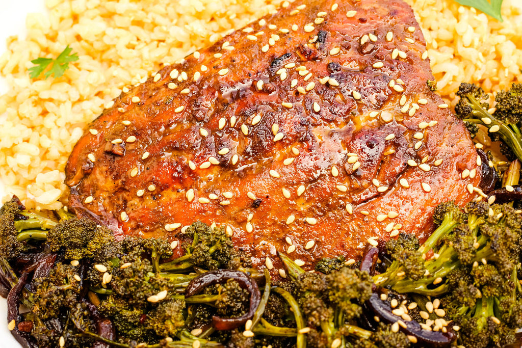 Molasses Soy Ginger Salmon and Broccolini is a one pan meal that can be on the table in less than 30 minutes.