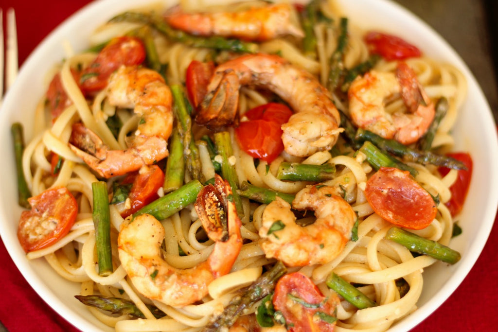Roasted Spot Prawn Linguine with Asparagus and Tomatoes ~ Garlic butter  Alaskan Spot Prawns, Asparagus, and Tomatoes, roasted and tossed with linguine.