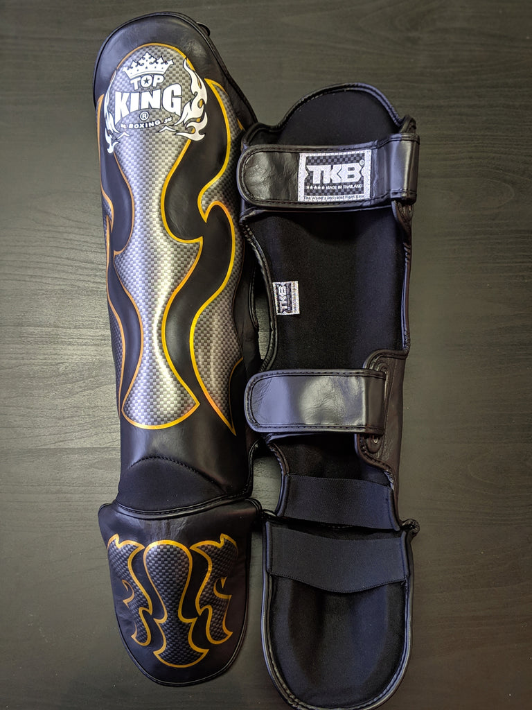 Top King Shin Guards Black/Gold/Graphite Flame