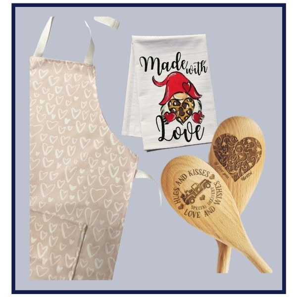 Valentine's Day premium tea towel, beautiful wooden spoon and adorable blush apron