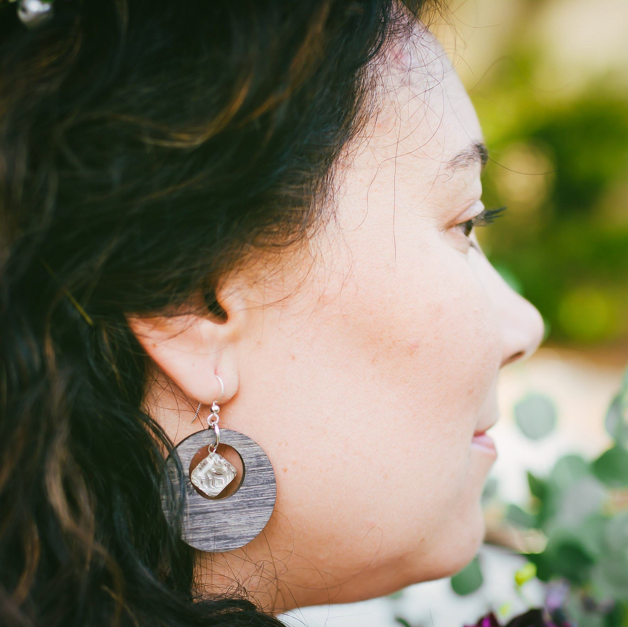 Large Feng Shui Inspired Woven Metal, Glass, and Bamboo Hoop Earrings in Silver or Gold