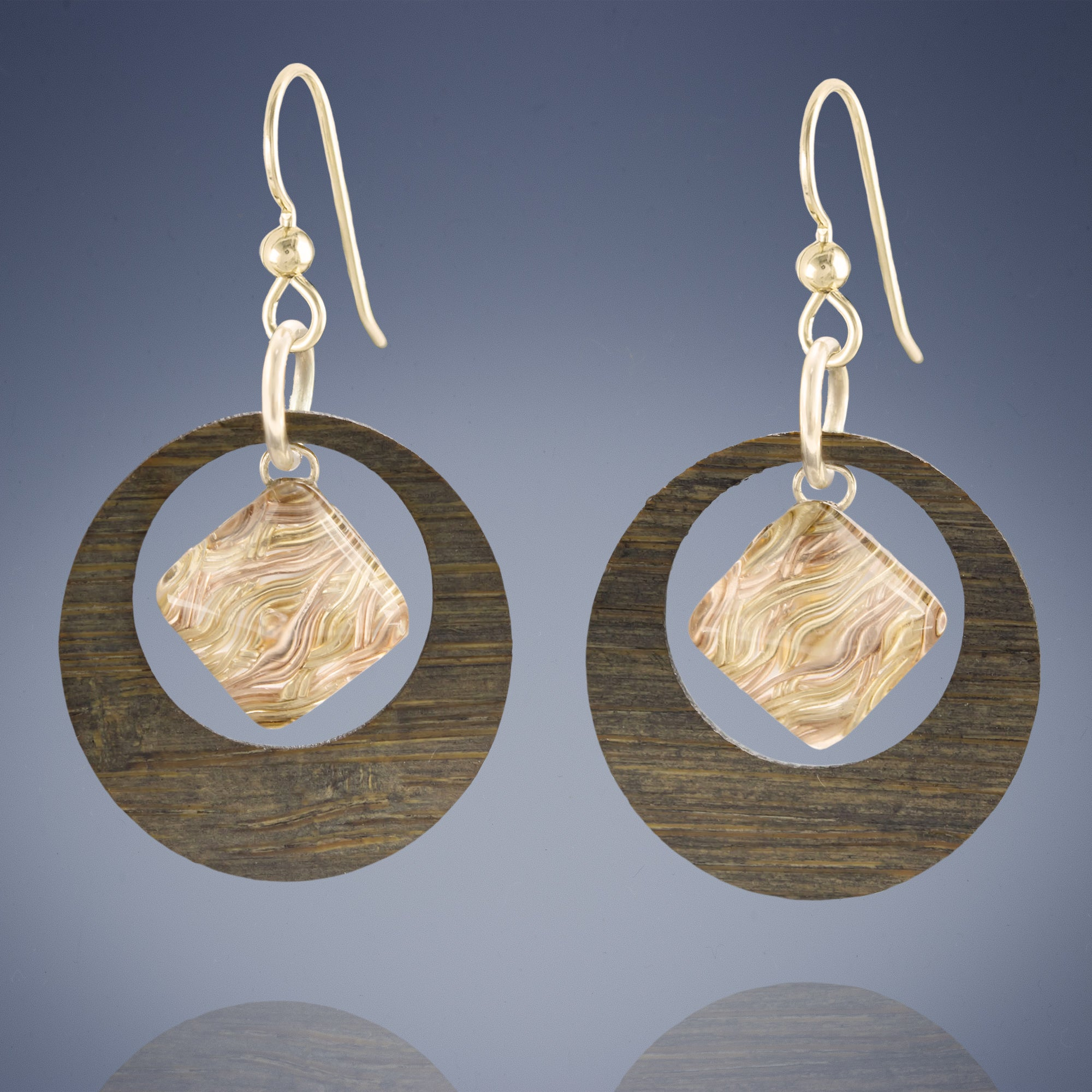 Small Feng Shui Inspired Woven Metal, Glass, and Bamboo Hoop Earrings in Silver or Gold