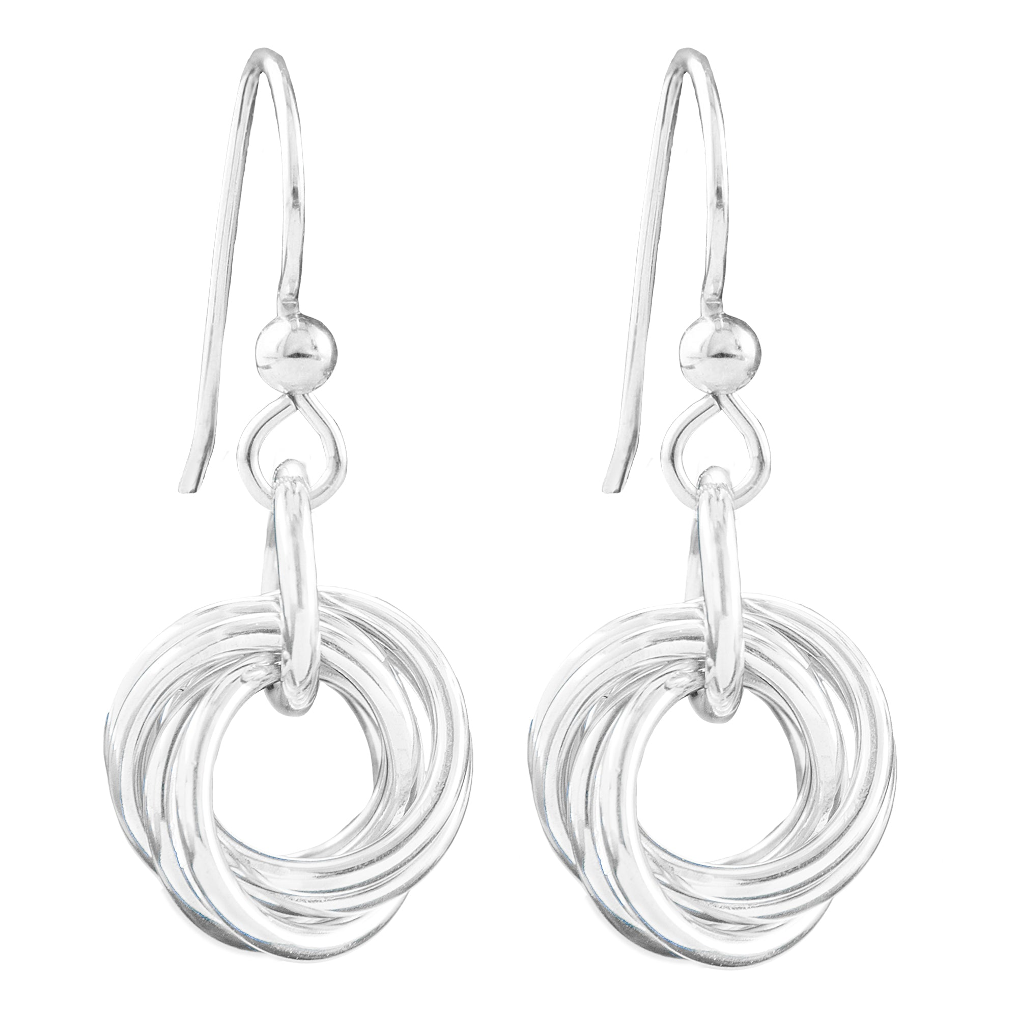 AS SEEN ON LAW AND ORDER: SVU - Dainty Drop Round Love Knot Dangle Earrings in Silver