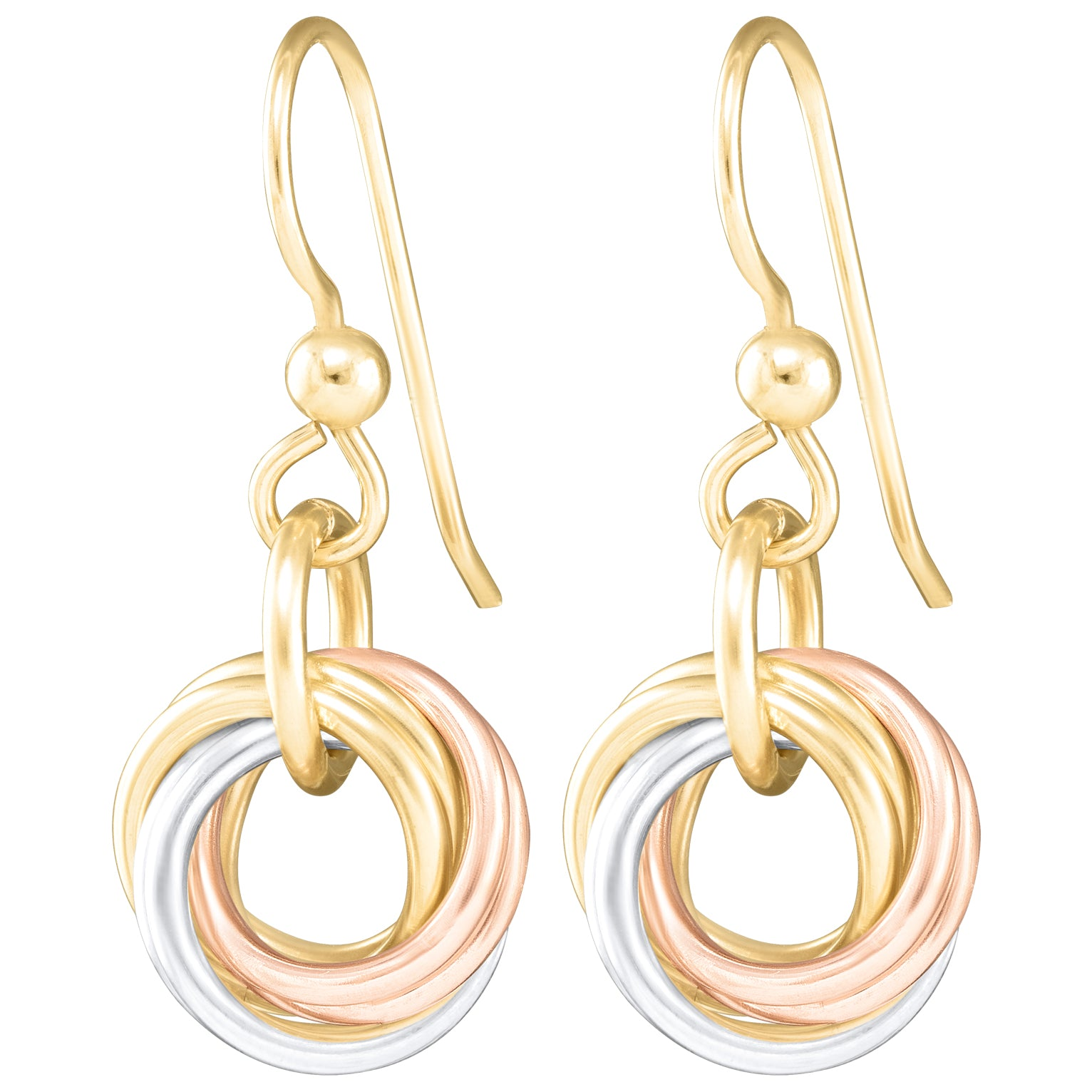 Tri Color Round Love Knot Dangle Earrings (Sterling Silver, 14K Yellow and Rose Gold Fill)