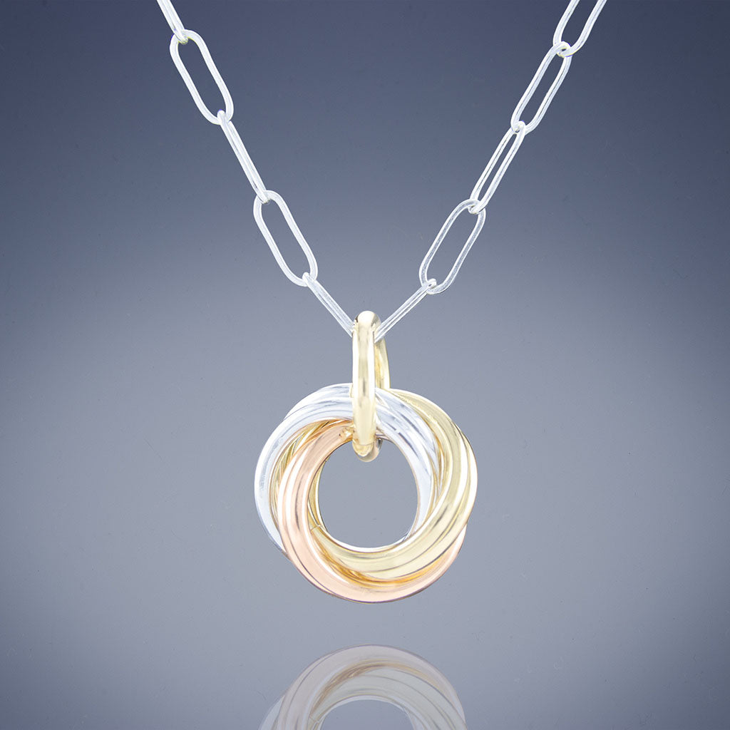 Dainty Love Knot Pendant Necklace in Tri Metal (.925 Sterling Silver, 14K Yellow / Rose Gold Fill)