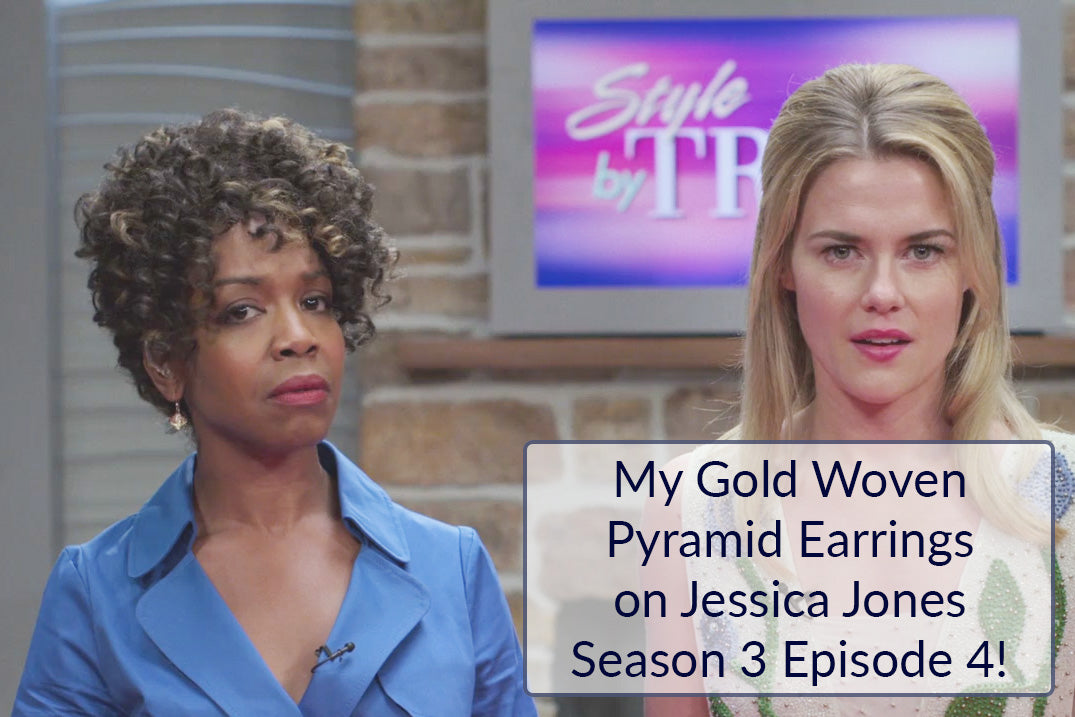 AS SEEN ON Netflix's Jessica Jones: Gold Pyramid Shaped Earrings Featuring Handwoven Metal Fabric and Glass