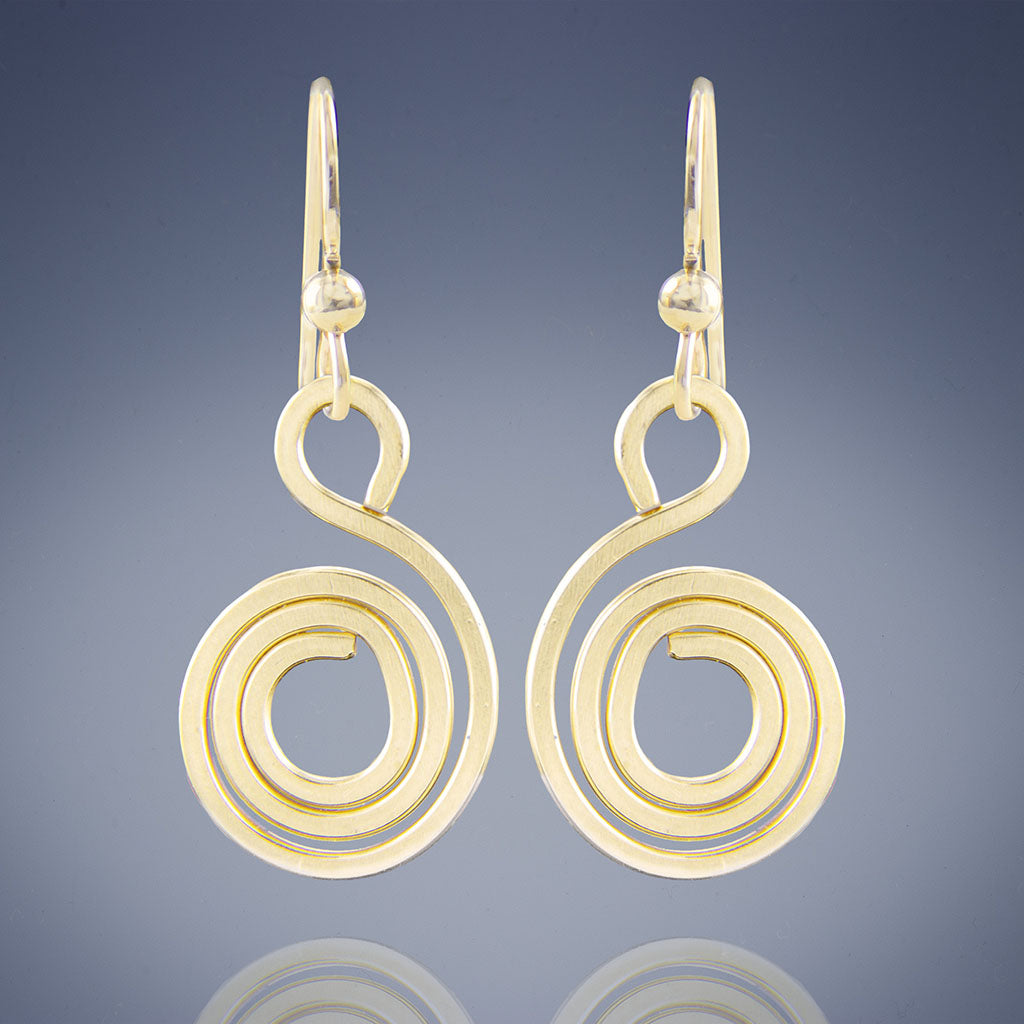Tahmi - the art of woven metal: Geometric Spiral Drop Dangle Earrings - in Silver, Rose Gold and Yellow Gold