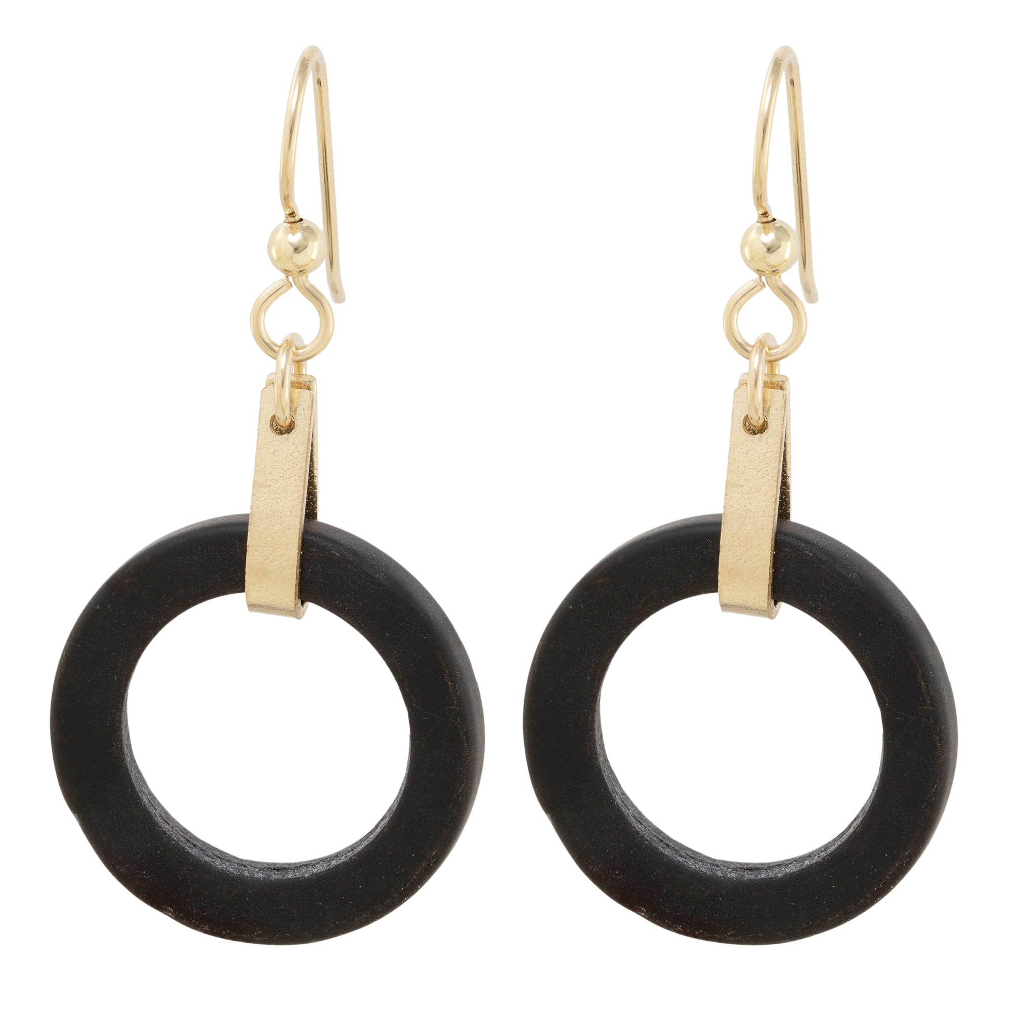 Matte Black Round Recycled Glass Open Circle and 14K Gold Fill Strap Style Dangle Earrings