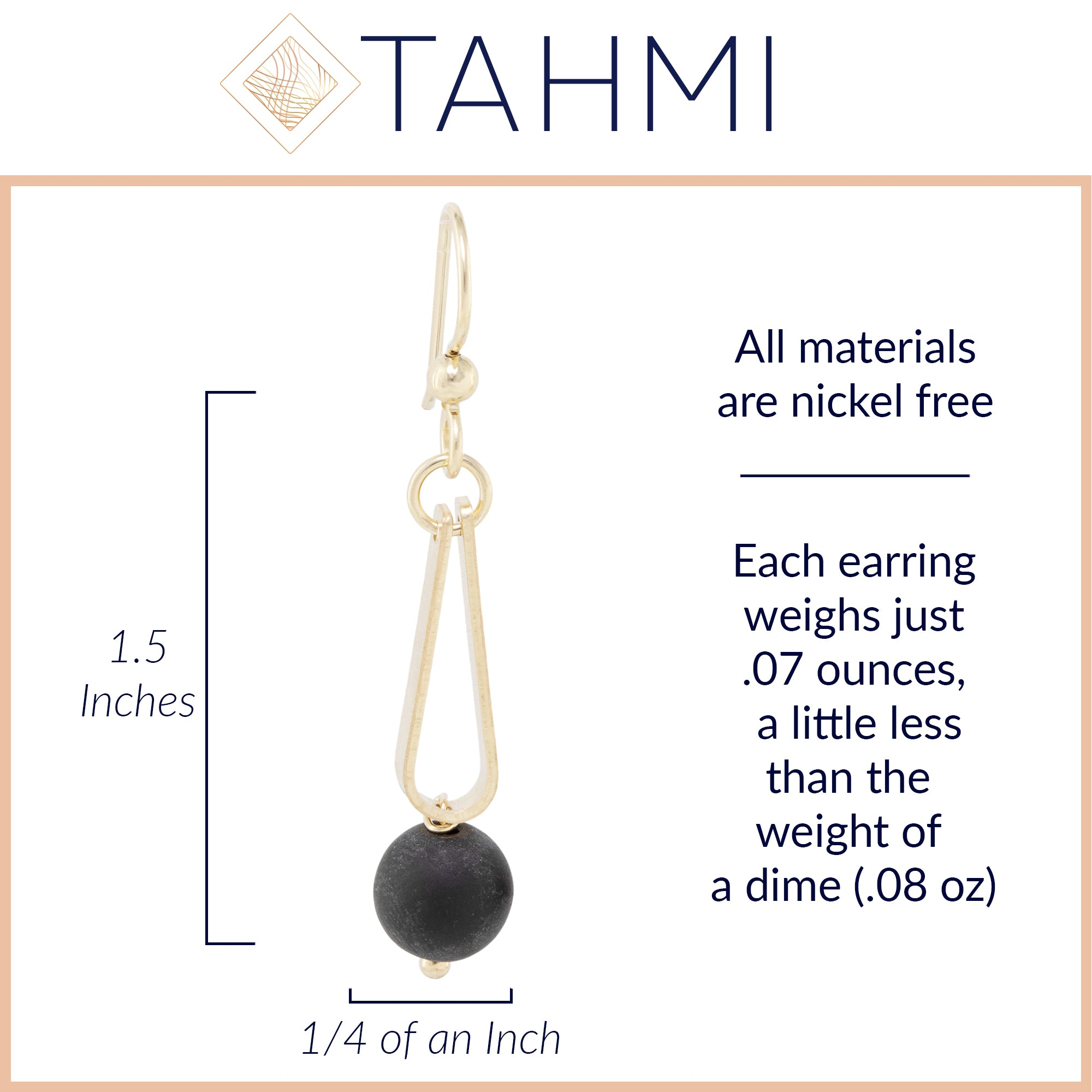 Matte Black Round Recycled Glass Ball and 14K Gold Fill Strap Style Dangle Earrings