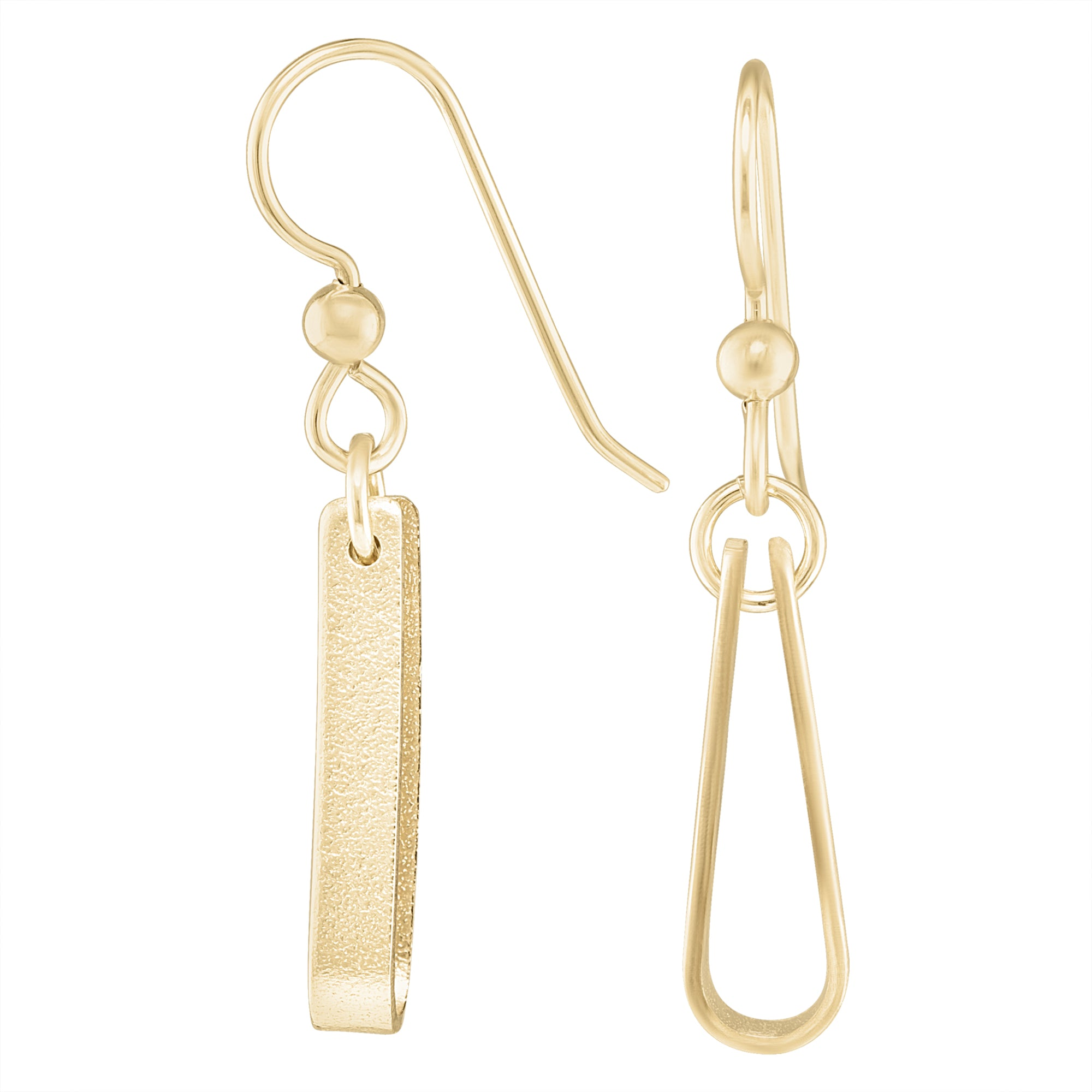 Minimalist 14K Yellow Gold Fill Strap Style Dangle Earrings