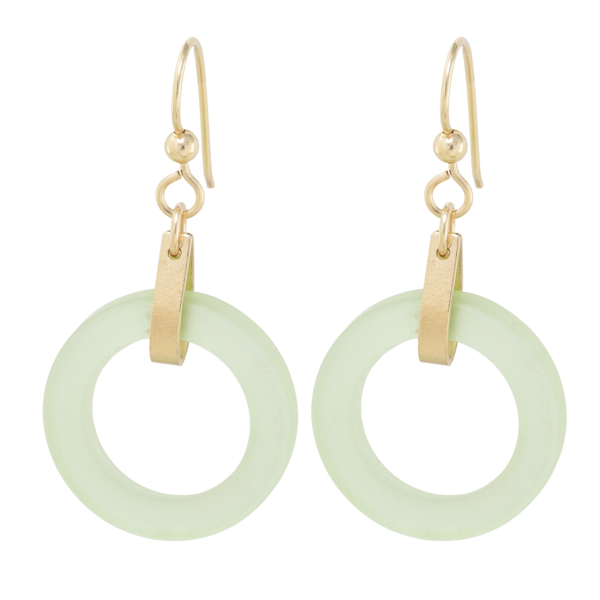 Light Pastel Sage Green Round Recycled Glass Open Circle and 14K Gold Fill Strap Style Dangle Earrings