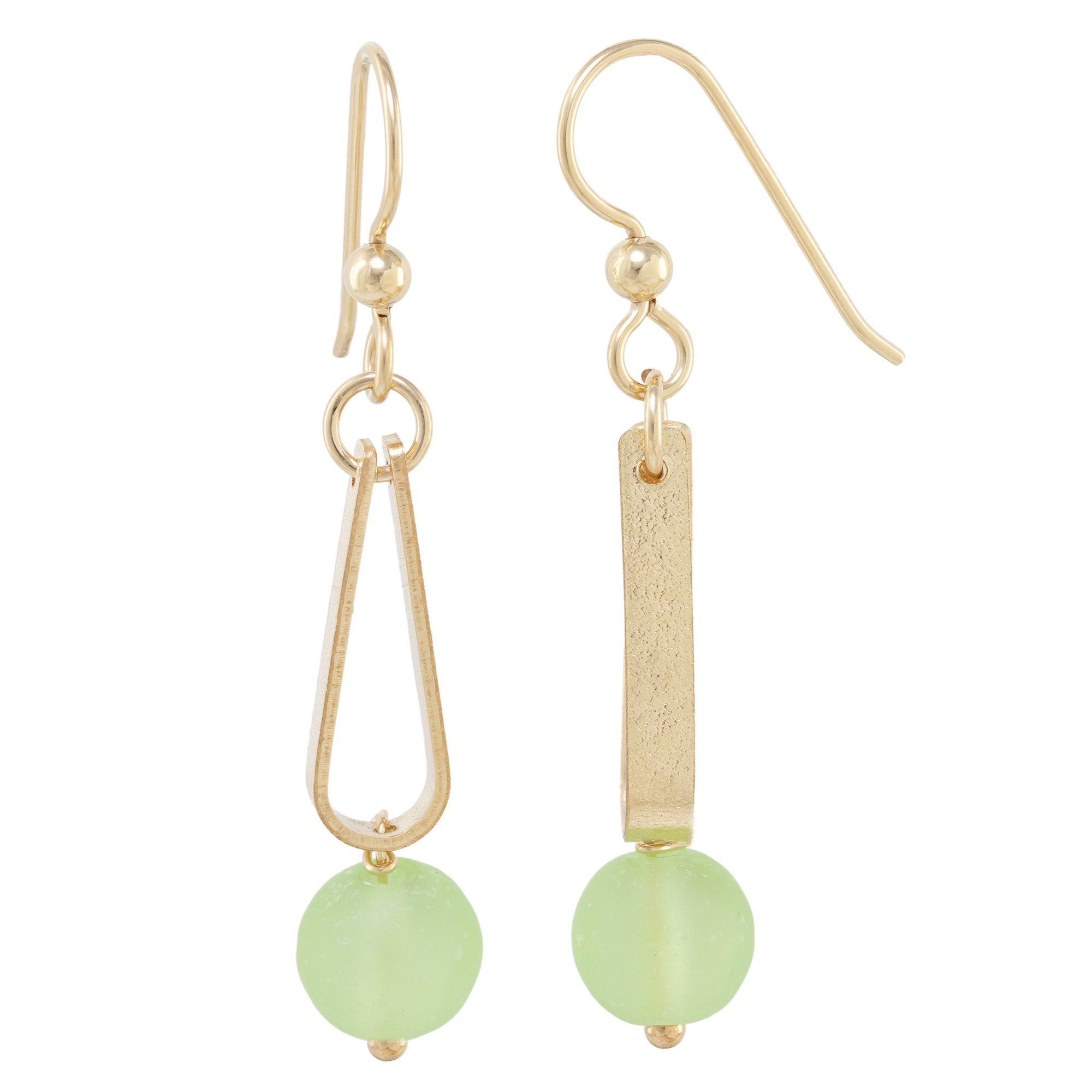 Light Pastel Sage Green Round Recycled Glass Ball and 14K Gold Fill Strap Style Dangle Earrings