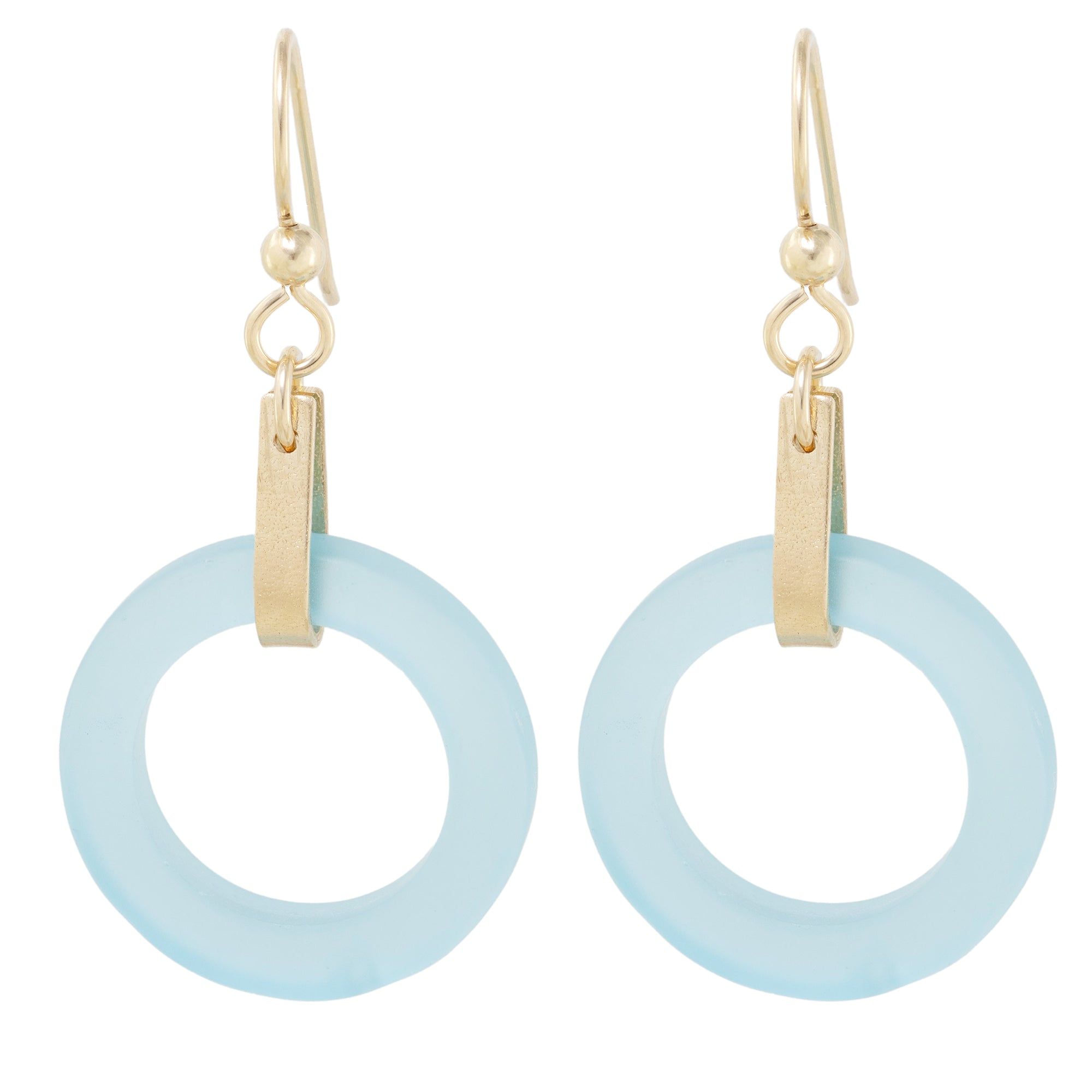 Light Baby Blue Round Recycled Glass Open Circle and 14K Gold Fill Strap Style Dangle Earrings