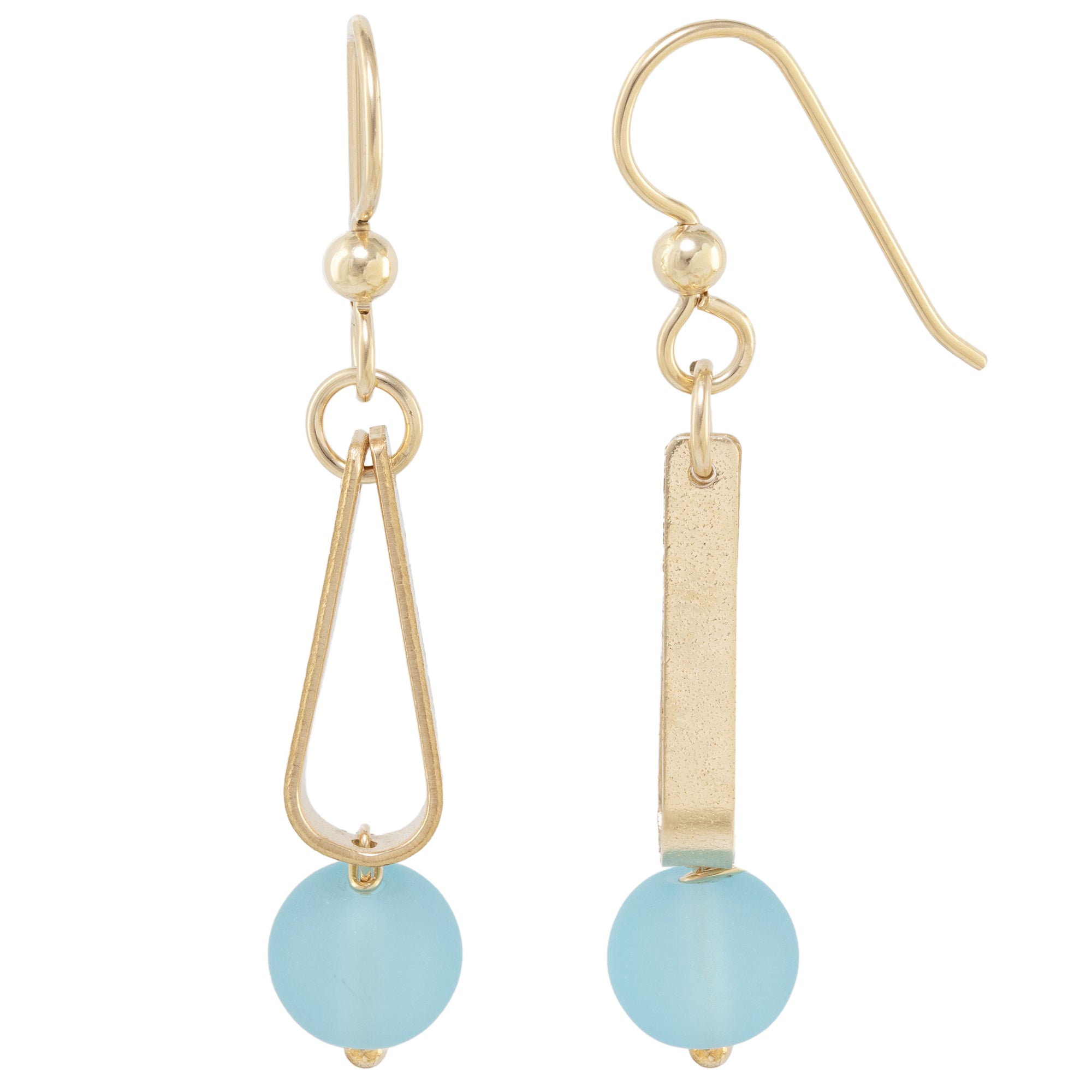 Light Baby Blue Round Recycled Glass Ball and 14K Gold Fill Strap Style Dangle Earrings