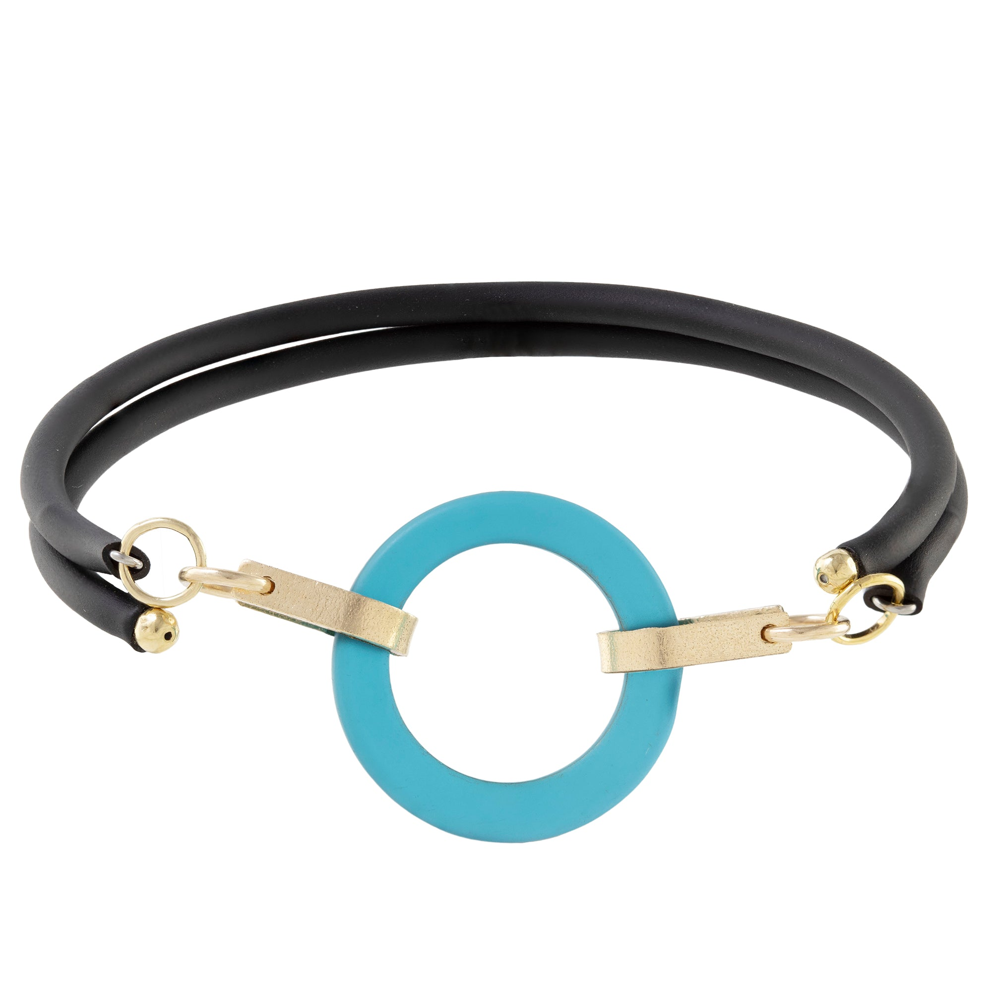 Teal Peacock Blue Recycled Glass Open Circle and 14K Gold Fill Strap Style Wrap Bracelet