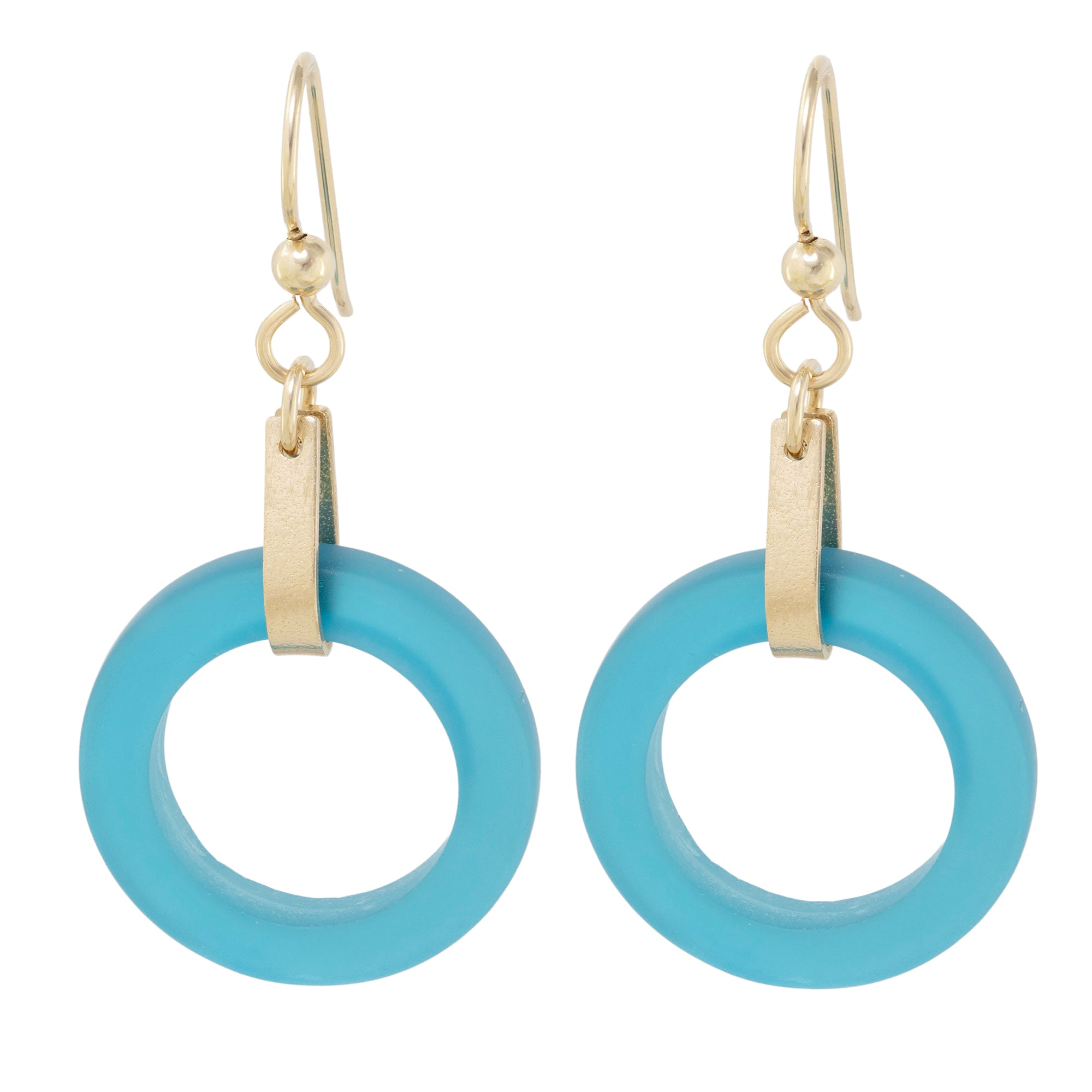 Teal Peacock Blue Round Recycled Glass Open Circle and 14K Gold Fill Strap Style Dangle Earrings