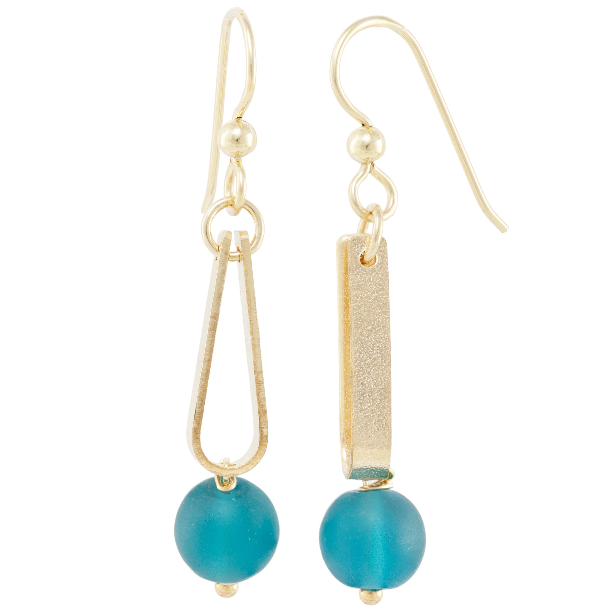Teal Peacock Blue Round Recycled Glass Ball and 14K Gold Fill Strap Style Dangle Earrings