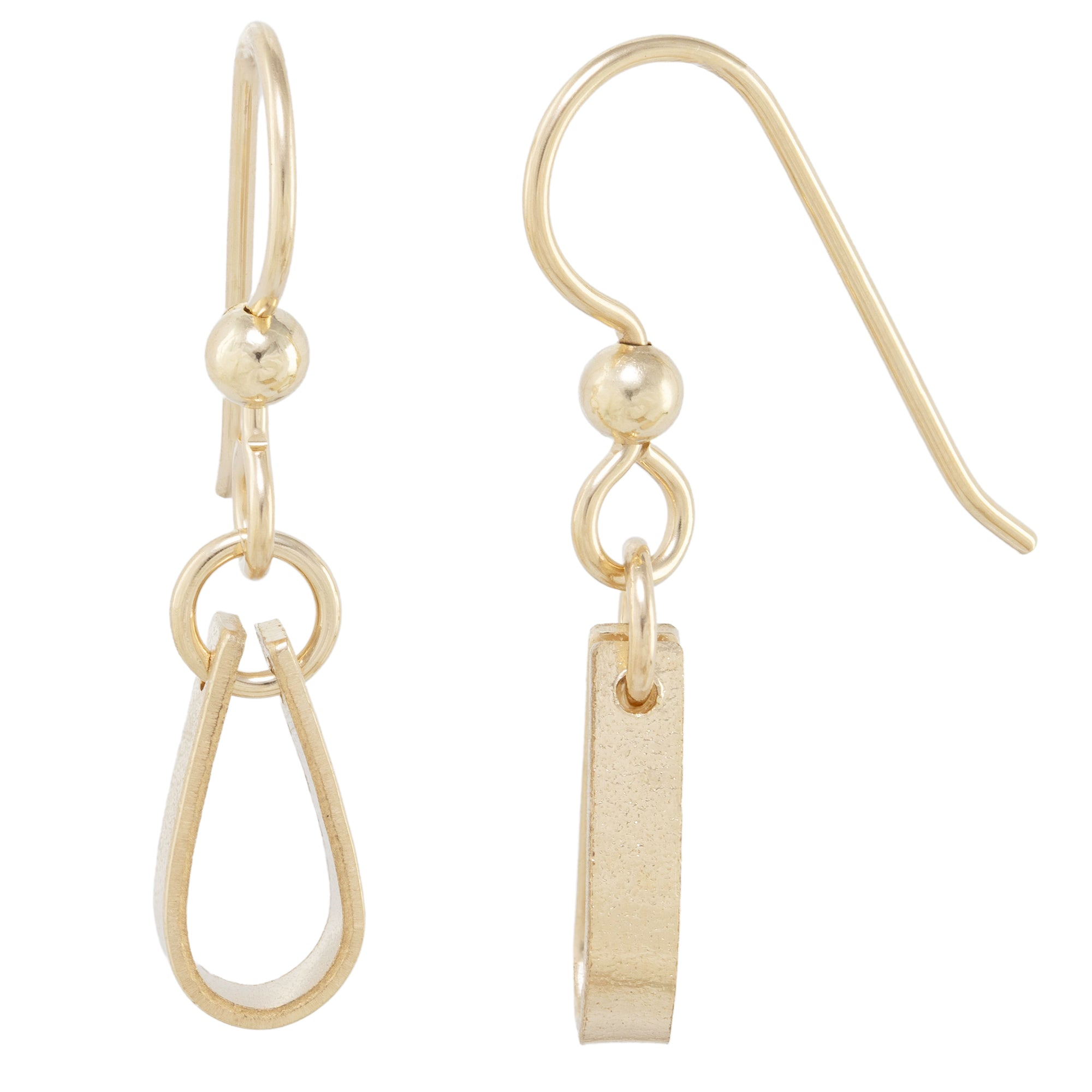 Small Minimalist 14K Yellow Gold Fill Strap Style Dangle Earrings