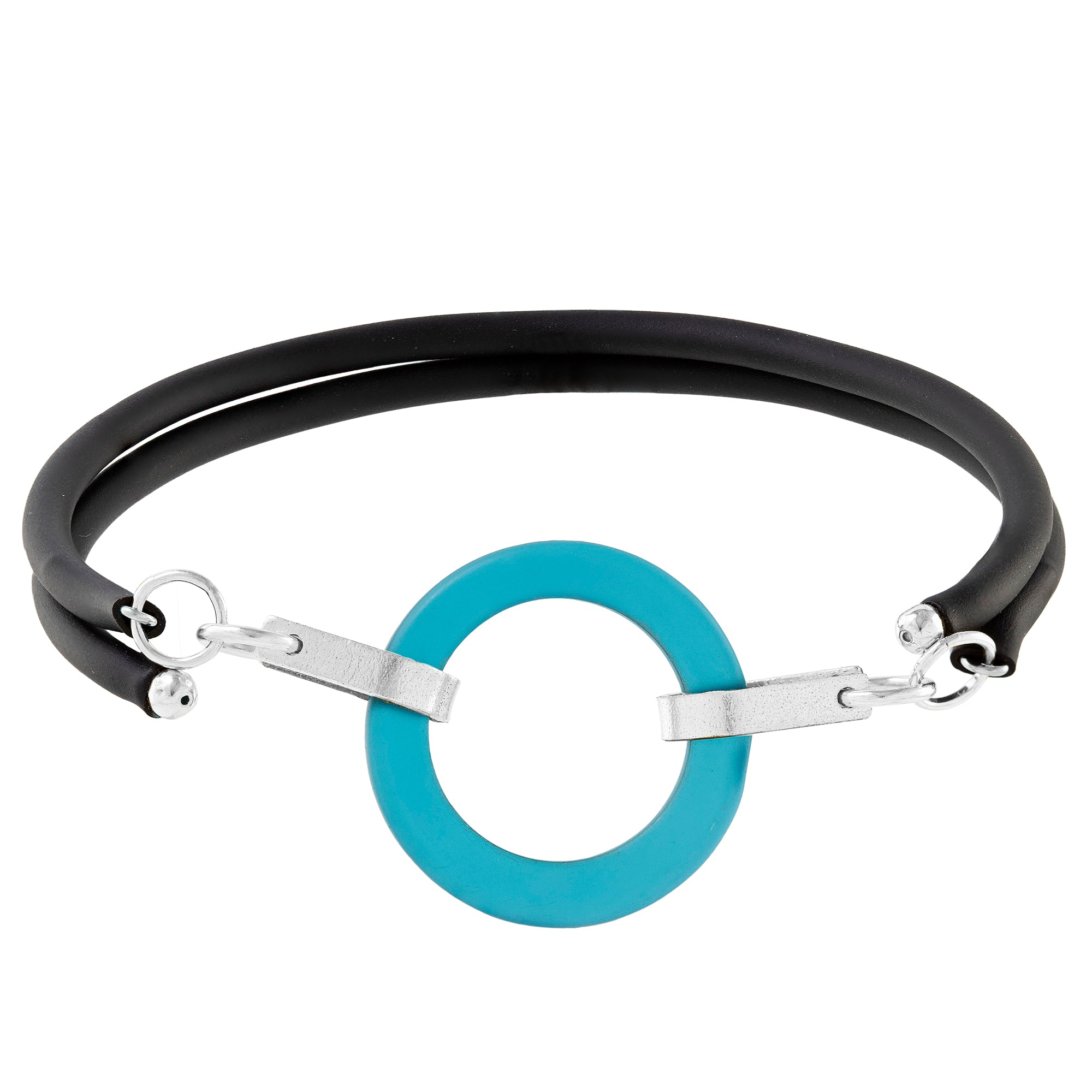 Teal Peacock Blue Recycled Glass Open Circle and Sterling Silver Strap Style Wrap Bracelet