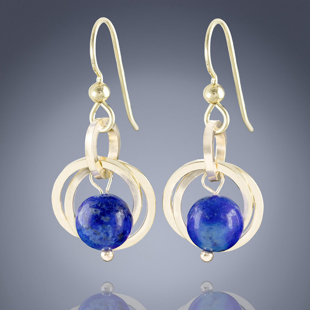 Simple Royal Blue Lapis Lazuli Real Gemstone Handmade Dangle Earrings in Gold