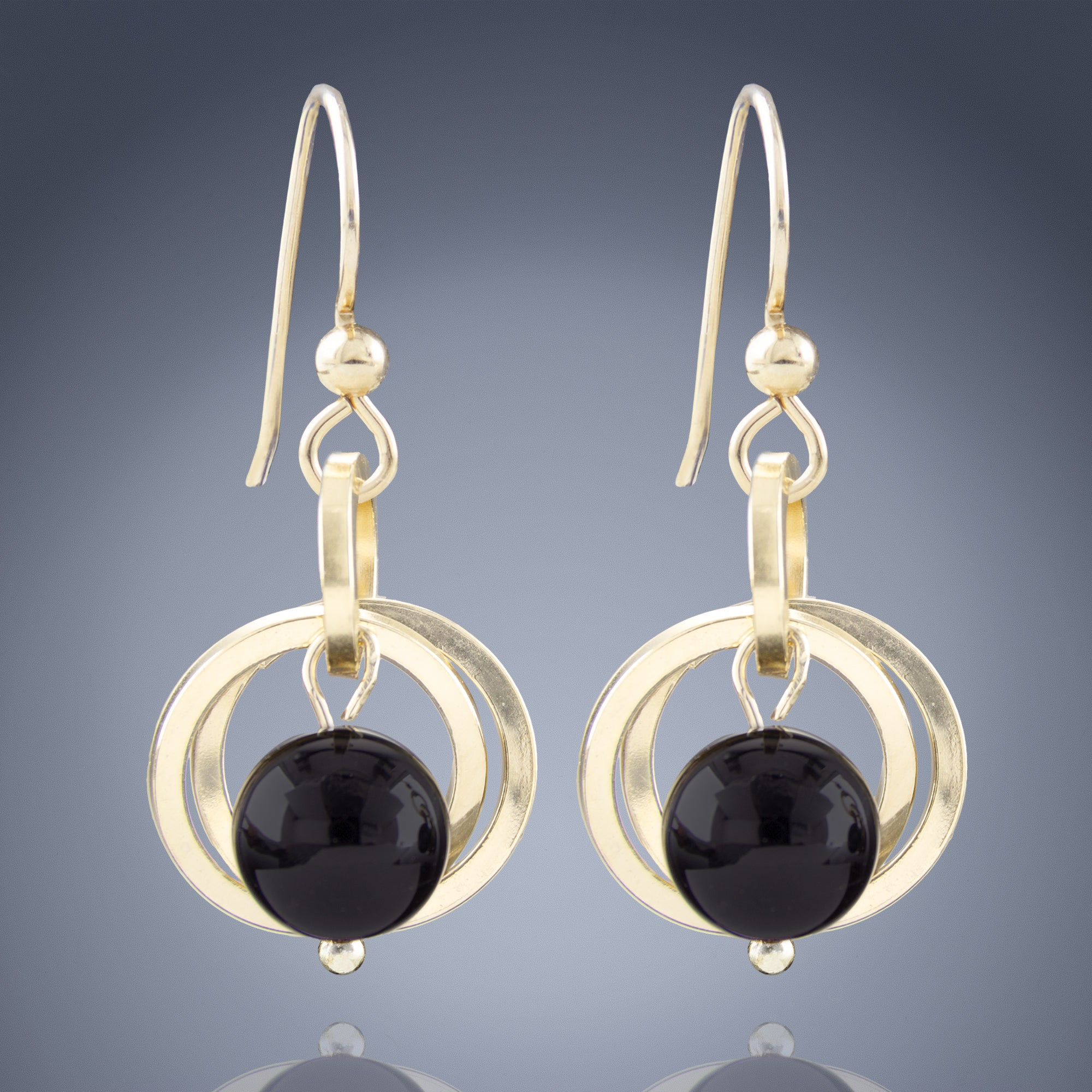 Handcrafted Black Onyx Genuine Gemstone Dangle Earrings in 14K Yellow Gold Fill