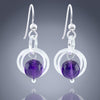 Dark Purple Genuine Amethyst Gemstone Dangle Earrings  - Available in Silver or Gold