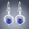 Simple Royal Blue Lapis Lazuli Real Gemstone Handmade Dangle Earrings in Silver
