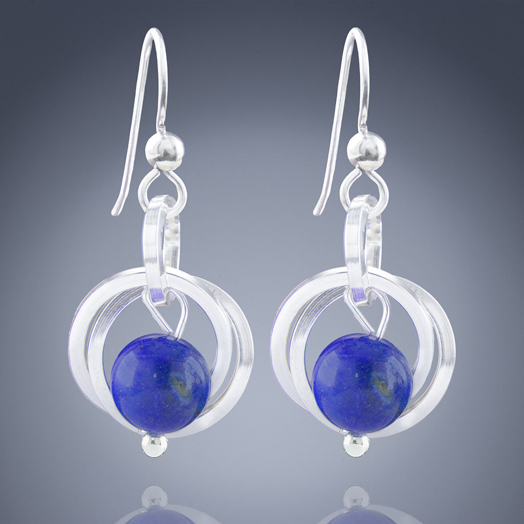 Simple Royal Blue Lapis Lazuli Real Gemstone Dangle Earrings - Available in Silver or Gold