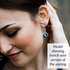 Simple Royal Blue Lapis Lazuli Real Gemstone Handmade Dangle Earrings in Silver as worn by model