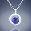 Blue Lapis Lazuli Natural Gemstone Small Dangle Pendant in Silver