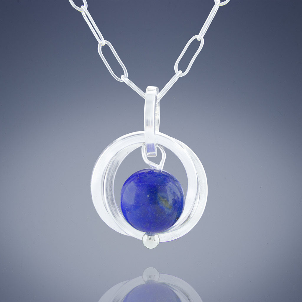 Blue Lapis Lazuli Natural Gemstone Small Dangle Pendant - Available in Silver or Gold