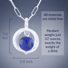 Blue Lapis Lazuli Natural Gemstone Small Dangle Pendant in Silver dimensions