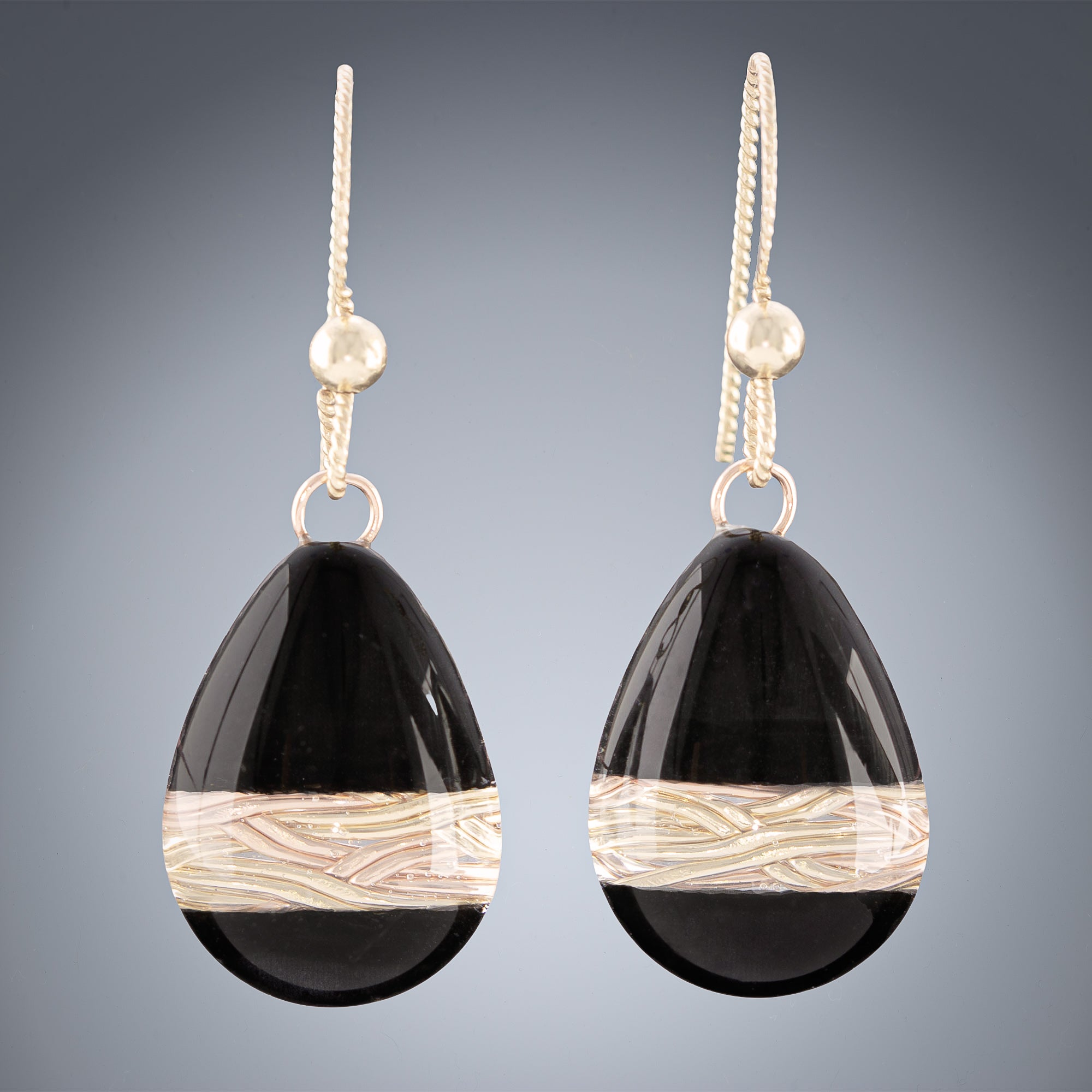 Handwoven Gold and Black Enamel Teardrop Dangle Earrings in both 14K Yellow and Rose Gold Fill