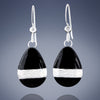 Tahmi - the art of woven metal: Black Enamel Teardrop Dangle Handmade Earrings in Silver