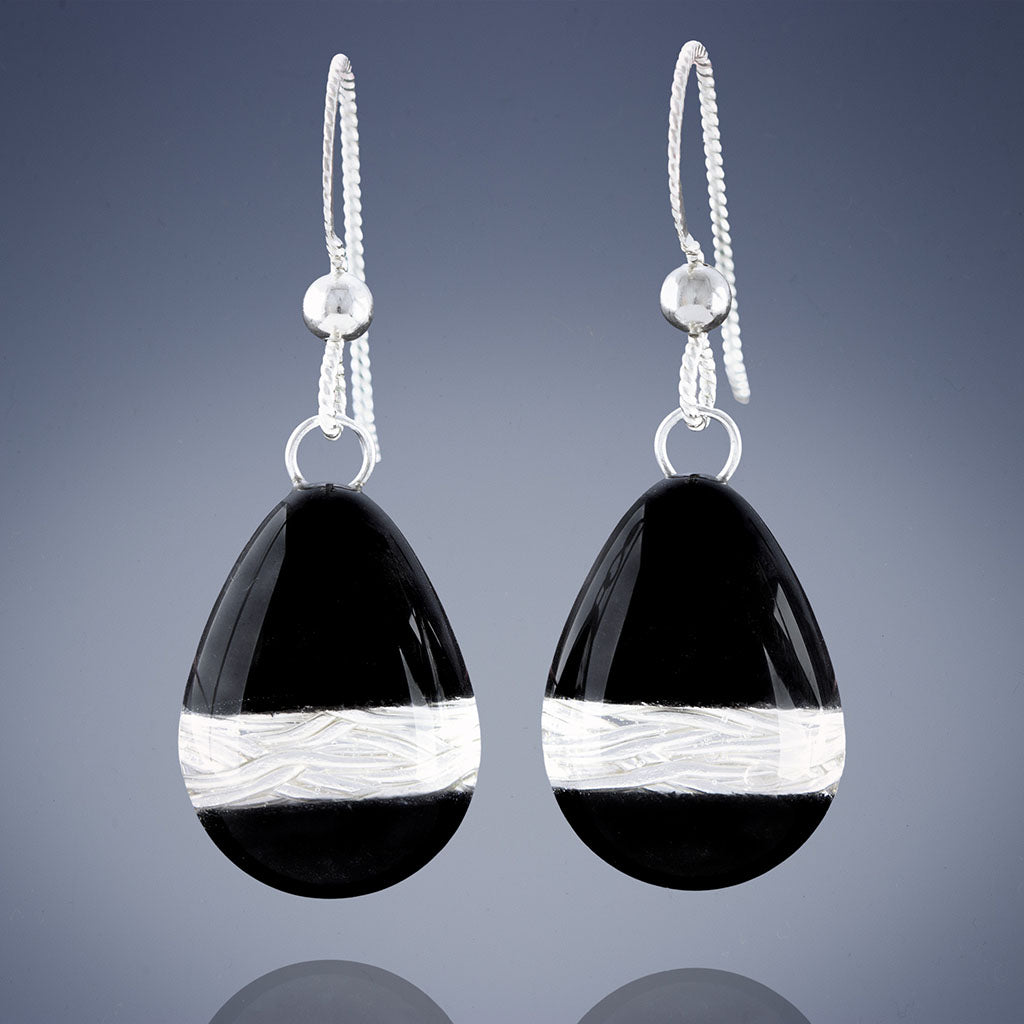 Handwoven Silver and Black Enamel Teardrop Dangle Earrings