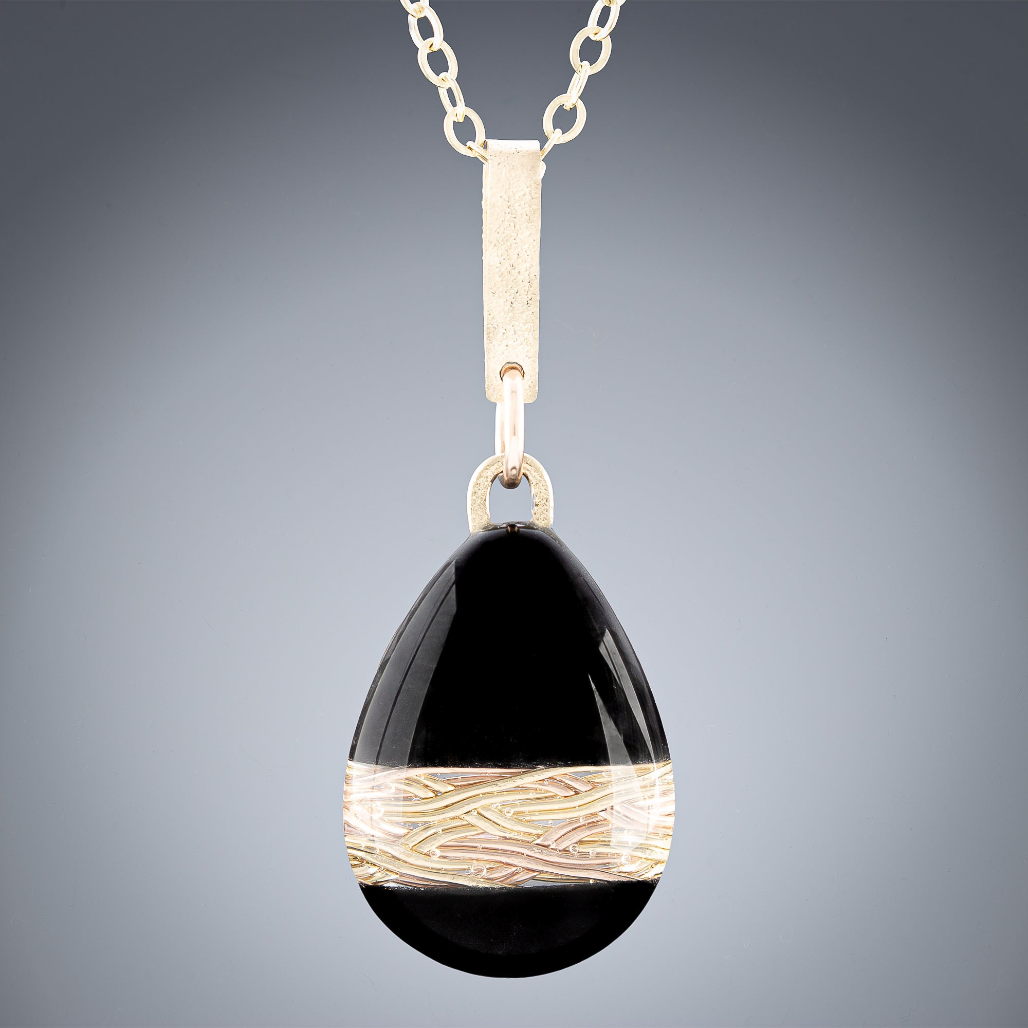 Handwoven Gold and Black Enamel Teardrop Pendant Necklace in both 14K Yellow and Rose Gold Fill