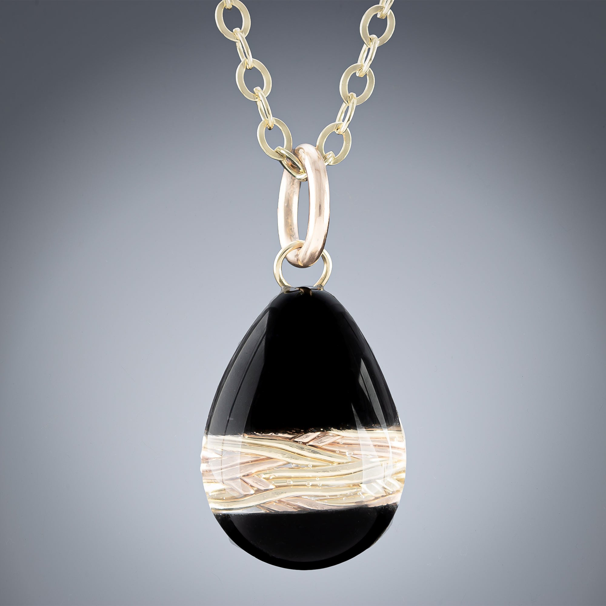 Small Woven Depths and Black Enamel Teardrop Pendant in Gold