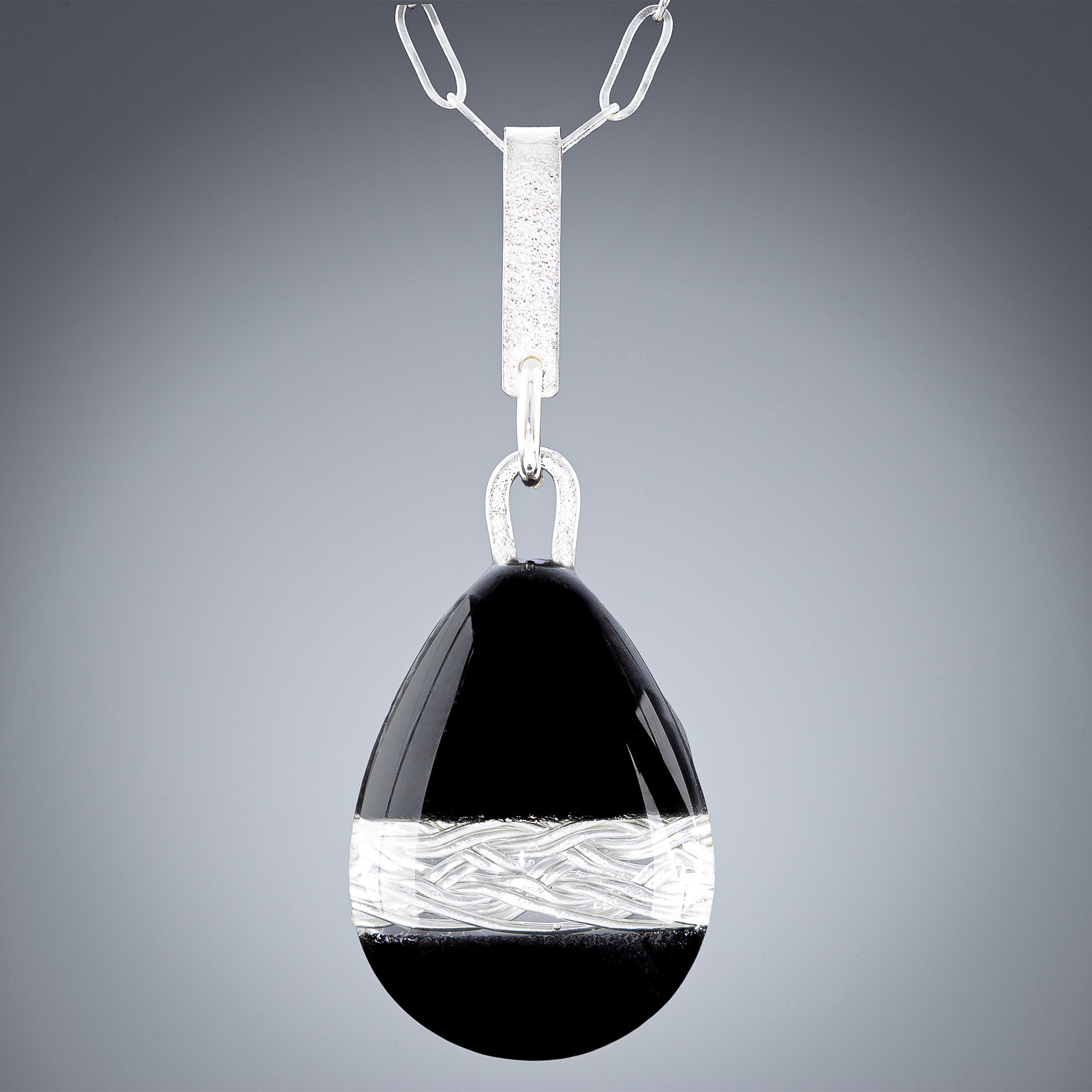 Large Woven Depths and Black Enamel Teardrop Pendant - Tahmi