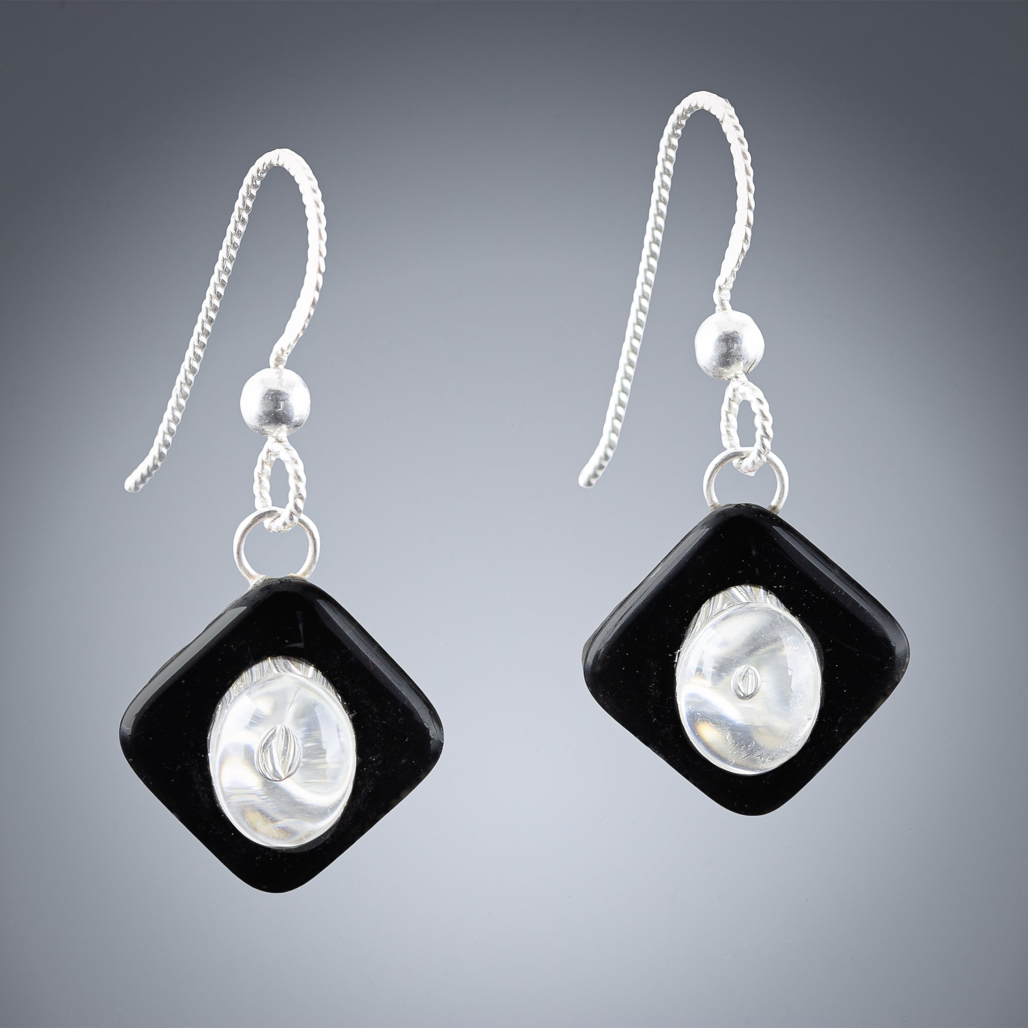 Handwoven Silver and Black Enamel Diamond Shape Dangle Earrings in Sterling Silver