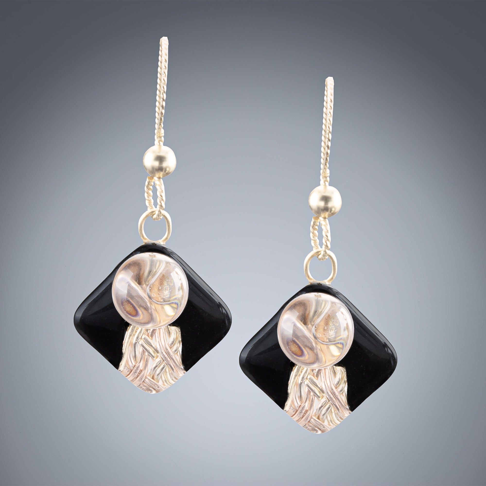 Handwoven Black and Gold Art Deco Inspired Earrings in both 14K Yellow and Rose Gold Fill