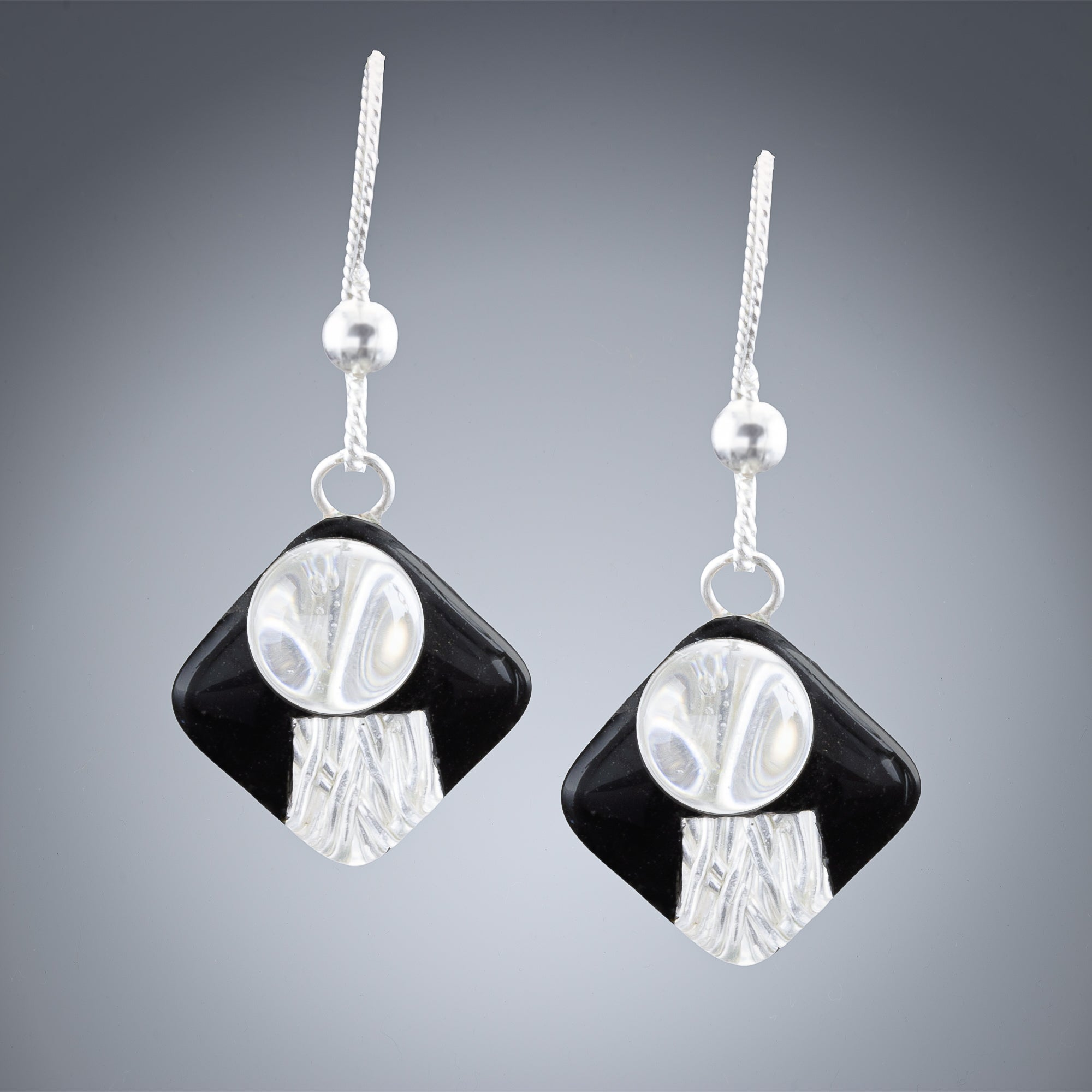 Handwoven Black and Silver Art Deco Inspired Earrings in Sterling Silver